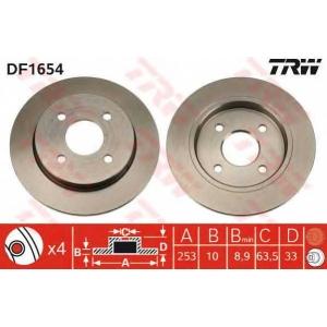 TRW DF1654 Диск тормозной FORD, задн. (пр-во TRW)