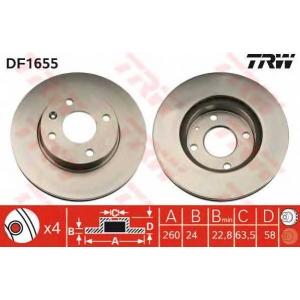 TRW DF1655 Диск тормозной FORD, передн., вент. (пр-во TRW)