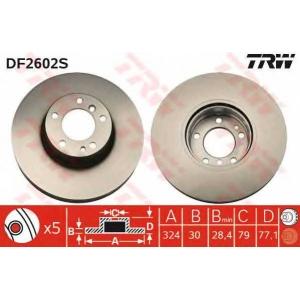 TRW DF2602S Диск тормозной BMW 5 (E39), 7 (E32) передн., вент. (пр-во TRW)