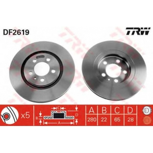 TRW DF2619 Диск тормозной SEAT, VW, передн., вент. (пр-во TRW)