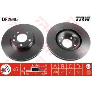 Тормозной диск df2645 trw - OPEL OMEGA A (16_, 17_, 19_) седан 2.6 i