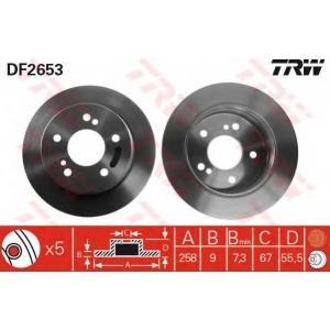TRW DF2653 =DF1583 Диск тормозн.задн.MERCEDES 190 (W201), C (W202), E (W124), S (W126)