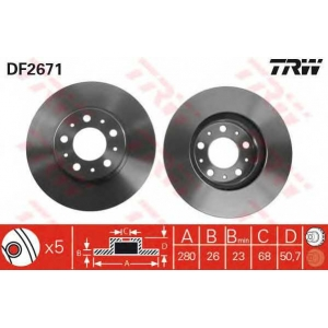 TRW DF2671 Диск тормозной VOLVO, передн., вент. (пр-во TRW)