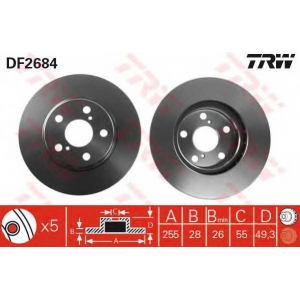 Тормозной диск df2684 trw -