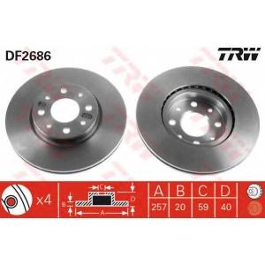 TRW DF2686 Диск тормозной ALFA ROMEO, FIAT, LANCIA, передн., вент. (пр-во TRW)