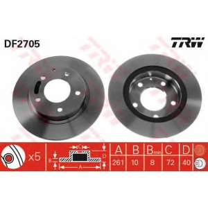 TRW DF2705 Диск тормозной MAZDA 626 задн. (пр-во TRW)