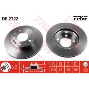 TRW DF2722 Диск тормозной CITROEN, FIAT, PEUGEOT, передн., вент. (пр-во TRW)