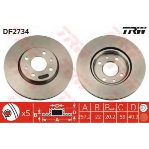 TRW AUTOMOTIVE DF2734 Гальмівний диск