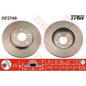TRW DF2749 Диск тормозной MB E-CLASS передн., вент. (пр-во TRW)