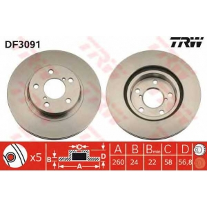 Тормозной диск df3091 trw - SUBARU LEGACY I (BC) седан 1800 4WD
