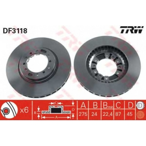 ��������� ���� df3118 trw - MITSUBISHI PAJERO II Canvas Top (V2_W, V4_W) �������� �������� 2.5 TD (V24C, V24W)