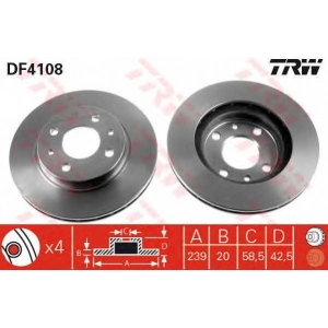 Тормозной диск df4108 trw - LADA 110 седан 1.5