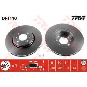 TRW DF4110 Диск тормозной RENAULT CLIO, KANGOO передн., вент. (пр-во TRW)