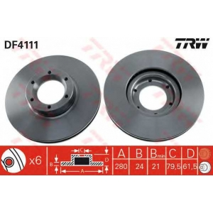 TRW DF4111 Диск тормозной RENAULT MASTER передн., вент. (пр-во TRW)