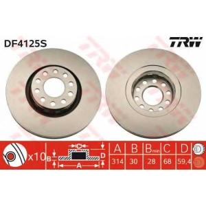 TRW DF4125S Диск гальмівний AUDI 100 Quattro/A8/A8 Quattro/S6 Quattro