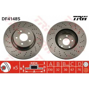 TRW DF4148S Диск тормозной MB S-CLASS передн., вент. (пр-во TRW)