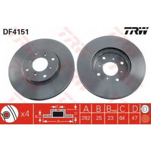 Тормозной диск df4151 trw - HONDA ACCORD VII (CG, CK) седан 1.8 i
