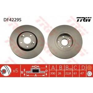 TRW DF4229S Диск тормозной RENAULT LAGUNA передн., вент. (пр-во TRW)