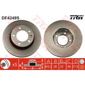 TRW DF4249S Тормозной диск