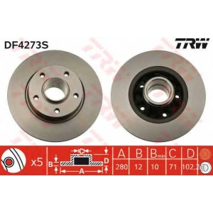 TRW DF4273S Диск тормозной NISSAN, OPEL, RENAULT, задн. (пр-во TRW)