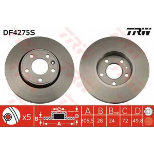Тормозной диск df4275s trw - RENAULT TRAFIC II автобус (JL) автобус 2.5 dCi 115