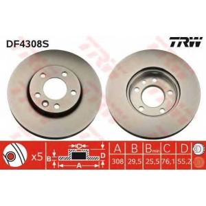 Тормозной диск df4308s trw - VW TRANSPORTER V автобус (7HB, 7HJ, 7EB, 7EJ, 7EF) автобус 2.0 TDI