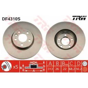 TRW DF4310S Диск гальмівний SEAT/VW Alhambra/Sharan/Transporter IV 16\