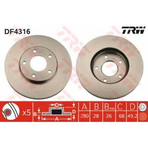 Тормозной диск df4316 trw - NISSAN ALMERA TINO (V10) вэн 1.8