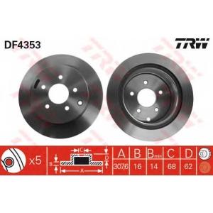 Тормозной диск df4353 trw - NISSAN MURANO (Z51) вездеход закрытый 2.5 4x4