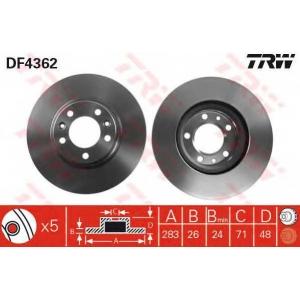 TRW DF4362 Тормозной диск передний 407/607 2.0/2.2 283x26x5