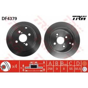 Тормозной диск df4379 trw - TOYOTA COROLLA (ZZE12_, NDE12_, ZDE12_) Наклонная задняя часть 1.8 VVTL-i TS