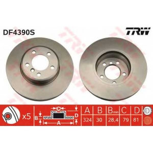 TRW DF4390S Диск тормозной BMW 7 передн., вент. (пр-во TRW)