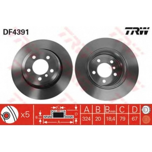Тормозной диск df4391 trw - BMW 7 (E65, E66) седан 735 i,Li