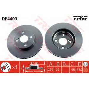 TRW DF4403 Диск тормозной TOYOTA, передн., вент. (пр-во TRW)