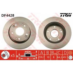 Тормозной диск df4428 trw - HONDA ACCORD EURO VIII седан (CL) седан 2.4 (CL9)