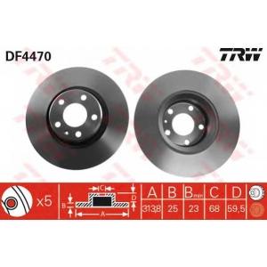 Тормозной диск df4470 trw - AUDI A6 (4F2, C6) седан 3.0 TFSI quattro