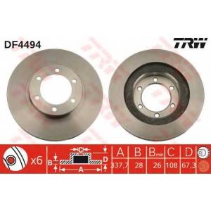 Тормозной диск df4494 trw - TOYOTA LAND CRUISER (KDJ12_, GRJ12_) вездеход закрытый 3.0 D