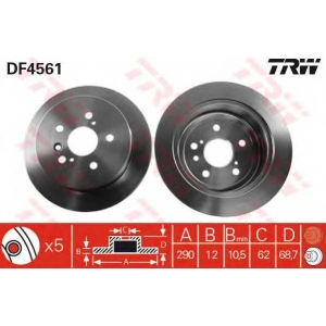 df4561 trw Тормозной диск TOYOTA AVENSIS VERSO вэн 2.0 VVT-i