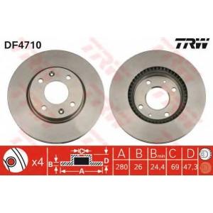 TRW DF4710 Диск тормозной HYUNDAI SONATA IV передн., вент. (пр-во TRW)