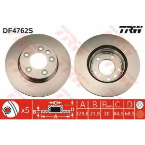 TRW DF4762S Диск тормозной VW TOUAREG передн. лев., вент. (пр-во TRW)