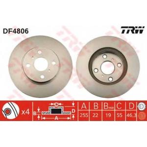 TRW DF4806 Диск гальмівний (комп. 2 шт) TOYOTA Yaris \F D=255mm \05>>