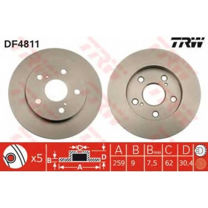 TRW DF4811 Диск тормозной (пр-во TRW)