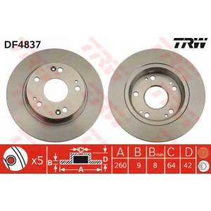 TRW AUTOMOTIVE DF4837 Гальмівний диск