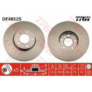 Тормозной диск df4852s trw - BMW X5 (E70) вездеход закрытый xDrive 30 d