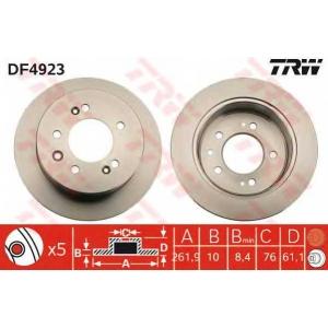 TRW DF4923 Диск тормозной HYUNDAI ELANTRA задн. (пр-во TRW)