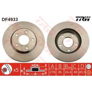 Тормозной диск df4933 trw - MITSUBISHI LANCER седан (CY/Z_A) седан 1.6
