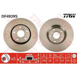 TRW DF4939S Диск гальмівний TOYOTA Auris/Avensis/Verso \F D=295mm \07>>