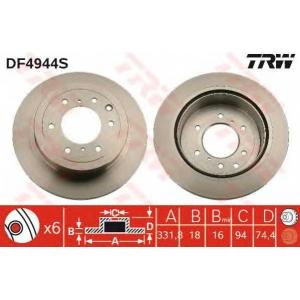 TRW DF4944S Диск гальмівний MITSIBISHI Pagero \R \06>>