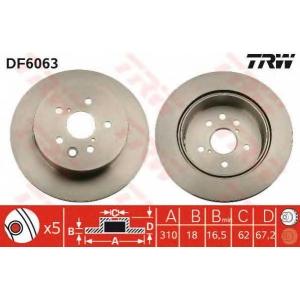 TRW DF6063 Диск гальмівний (комп. 2 шт) LEXUS GS/IS \2,2-4,6 \05>>