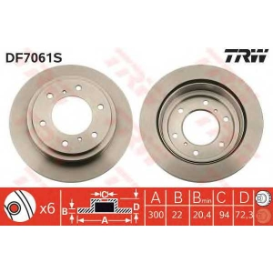 Тормозной диск df7061s trw - MITSUBISHI PAJERO IV (V80, V90) вездеход закрытый 3.2 DI-D 4x4